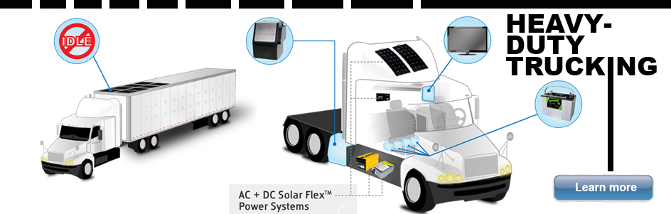 Anti-idling solar power solutions for heavy duty trucks, sleeper cabs and APU units