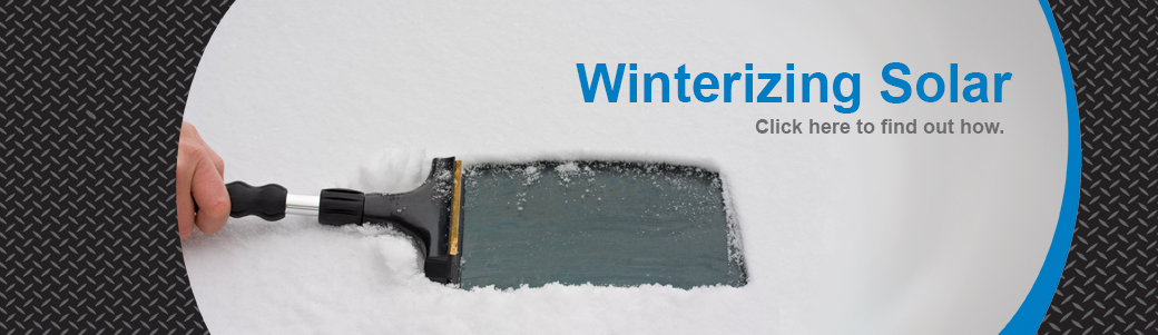 Someone scraping snow on windshield, text reading Winterizing Solar, click here to find out how.