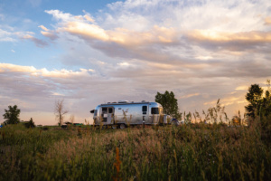 stacey tincanadventure airstream at sunset